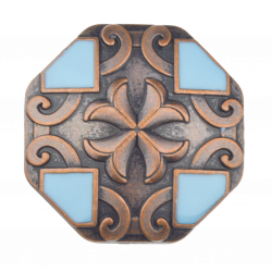 Turquoise & Copper Cross Concho