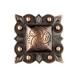 "1½"" Square Antique Copper Berry Concho"