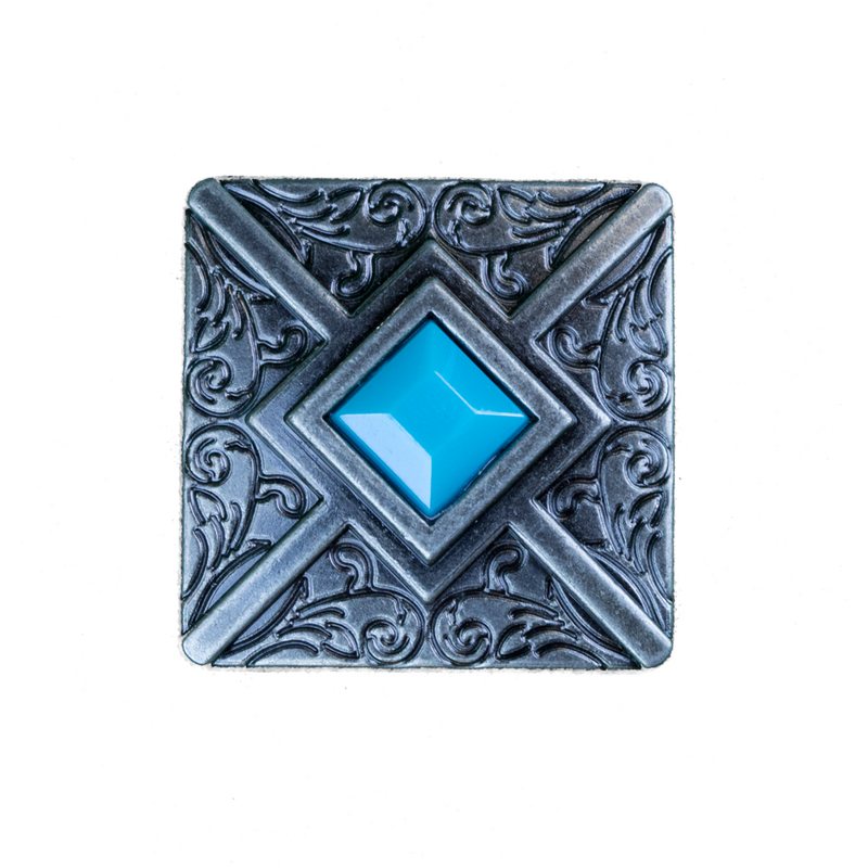 Silver Square Turquoise Concho